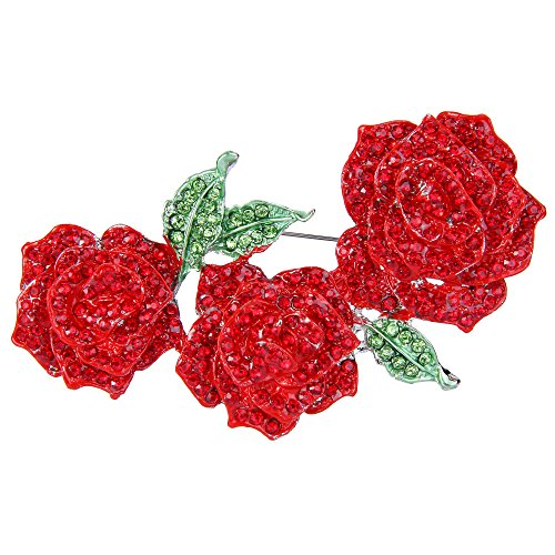 EVER FAITH Women's Austrian Crystal Enamel Romantic Blooming Rose Flower Leaf Brooch Red - Brooch Rose Pin