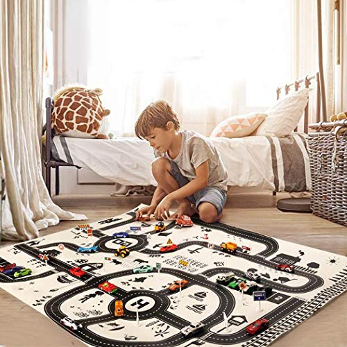(Offeir Kids Play Mat City Road Buildings Parking Map Game Educational Toys Baby Gyms & Playmats)