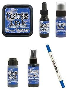 Tim Holtz Ranger Distress - July 2015 Color - Blueprint Sketch - Ink Pad, Stain, Paint, Spray Stain, Re-inker and Marker Bundle - Blueprint Sketch