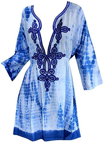 Caftan Kimono Swimsuit Cover Up Beach Dress Bikini Pool Robe Top Tunic Wrap Blue