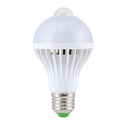 5W E27 LED de Bulbo Sensor Movimiento PIR Auto Lámpara Infrarrojos Ahorro Energía