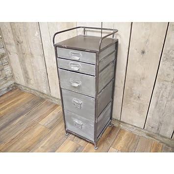 Style A Room Vintage Industrial Grau Silber Retro Tallboy Schrank