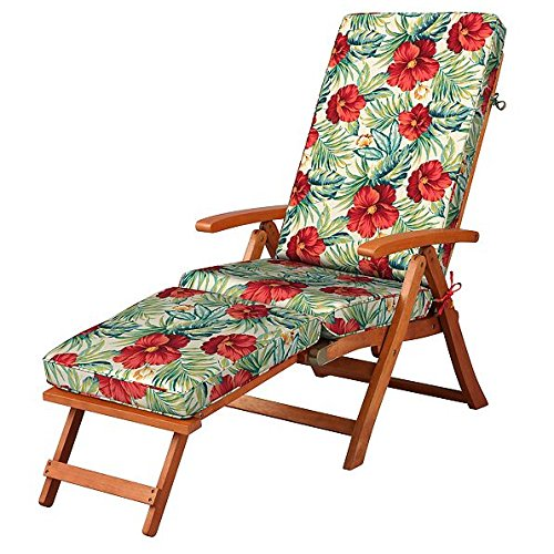 Red Green Tropical Floral Outdoor All Weather Cushion for Steamer Pool Deck Chair Seasonal Replacement Cushion (Steamer Replacement Cushions Chair)