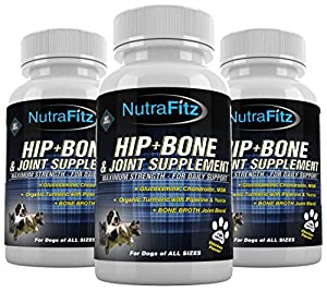 HIP+BONE & JOINT SUPPLEMENT For Dogs- with Glucosamine, Chondroitin, MSM, Organic Turmeric,Yucca, Bone Broth-For Hip Dysplasia, Arthritis pain relief for dogs joints. Advanced Formula Done Right from NUTRAFITZ