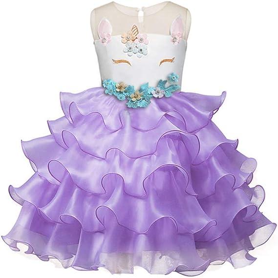 Peggy Gu Vestido de niñas Niños Volantes Fiesta de Encaje Vestidos ...