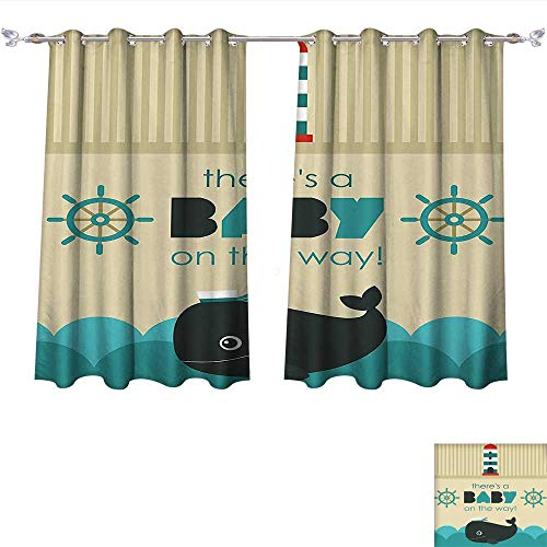 Qinqin-Home Waterproof Window Curtain Ahoy Its a Boy Baby on The Way Message with Marine Theme Set Up Dolphin Wheel Teal Dark Blue Khaki Blackout Draperies for Bedroom (W55 x L45 -Inch 2 Panels)