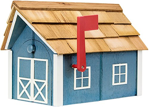 Painted Amish Mailbox with Cedar Roof and Windows & Door Trim (Wedgewood Blue with White -