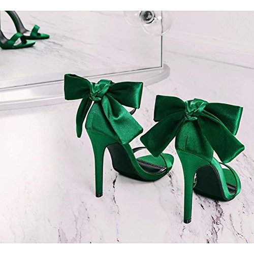 Solid Satin Stylish (Women's Thin Ankle Buckle Strap Satin Stilettos Elegance Open Toe Solid High Heeled Sandals Stylish Bowknot(Green,US 6.5))