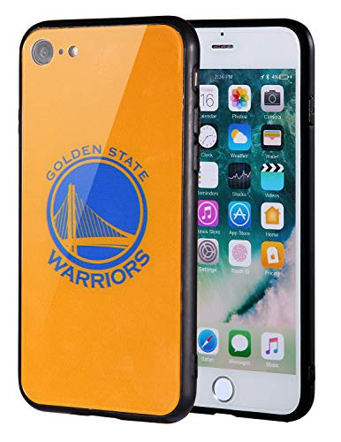 The Mass iPhone 8 case, iPhone 7 case, NBA Team Logo on Tempered Glass Back Cover and Soft TPU frame for Apple iPhone 8/7 (Golden State Warriors, 4.7 inch)