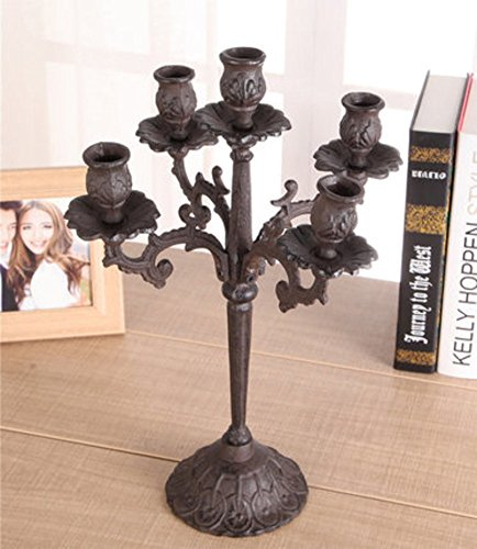 Qing Chen European Vintage Candle Holder cast Iron Carved Candle Holder Antique Candle Holder Decoration in The Home-B ()