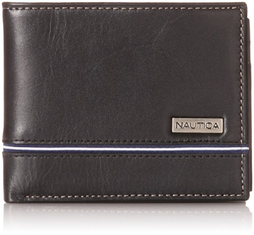 Nautica Men's Multi-Card Passcase Wallet,Black,