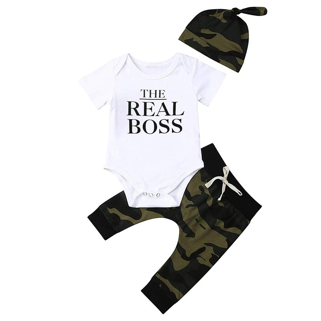 3pcs Toddler Baby Set, Boys Summer Shorts Sleeve Letter Tops Camouflage Pants+Hat Set Outfit Clothes (12-18 Months, White)