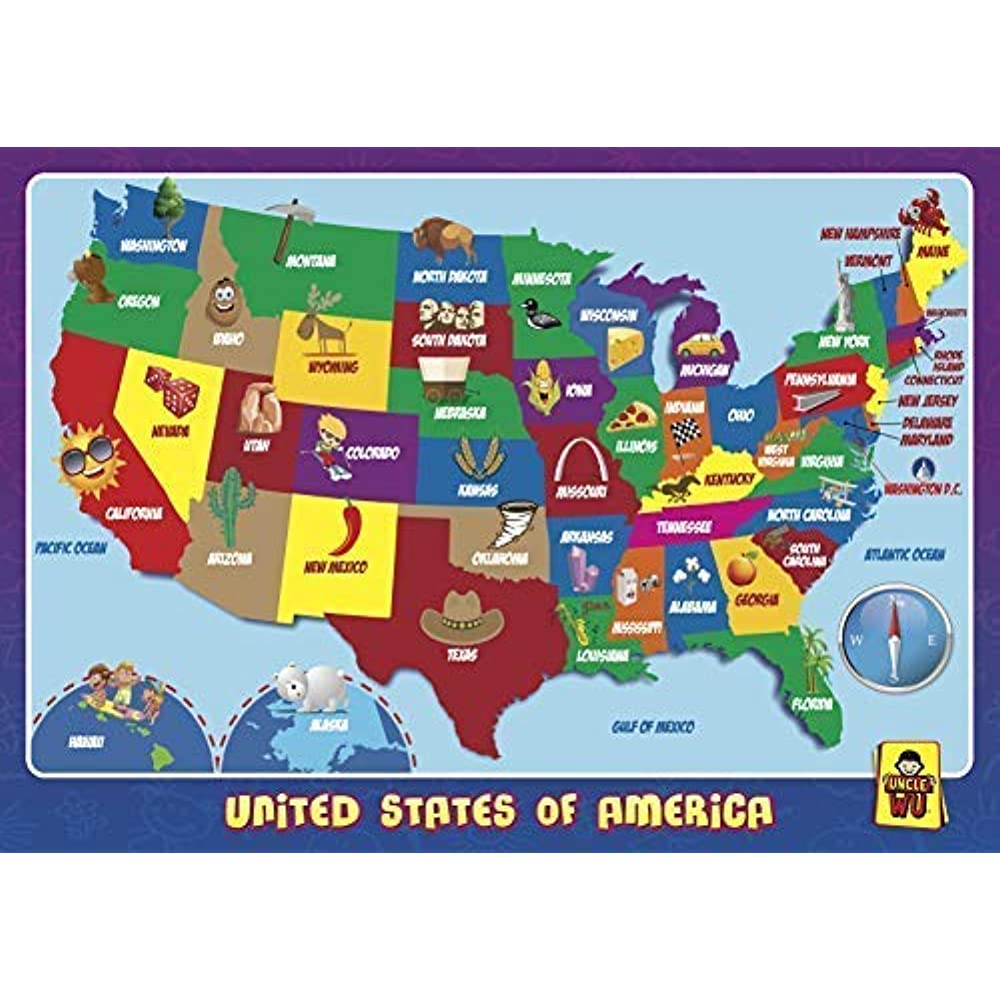 Details about United State Map Place Mats Learning Placemats -Educational  Kids Kitchen \