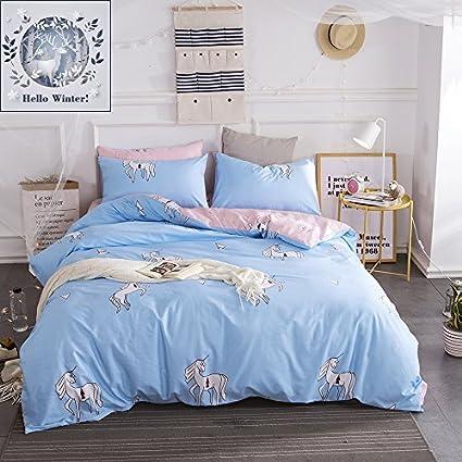Bon BuLuTu Teen Bedding Sets Full Blue/Pink Egyptian Cotton Boys Girls,Premium  Reversible Bed