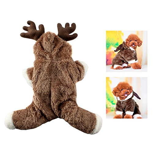 IDS Home Dog Elk Costume Pet Reindeer Christmas Cosplay Dress Clothes Velvet Puppy Hoodie Jumpsuit Suit Winter Warm Clothing Xmas Gifts, S