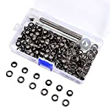 Box 100 Gunmetal Black Eyelet Rings Grommet with Die Punch Tools 5/6/8/10mm (5mm)