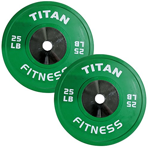 Pair of Titan Color Elite Olympic Bumper Plates - 25 LB by Titan Fitness