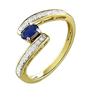 0.44 Ct. 14K Yellow Gold Natural White Diamond & Blue Sapphire Engagement Ring For Women Bypass Style
