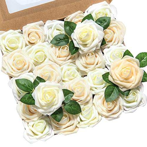 Lings moment Artificial Flowers 50pcs Real Looking Ivory Cream Heirloom Roses w/Stem for DIY Wedding Bouquets Centerpieces Bridal Shower Party Home DecorationsRegular 3