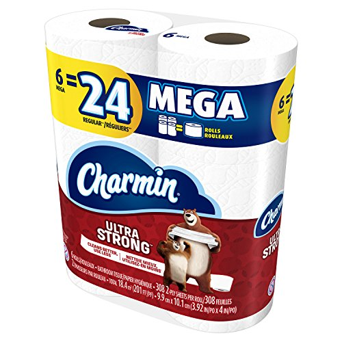 51Y3OjGI1vL - Charmin Ultra Strong Toilet Paper, Mega Roll, 24 Count (Packaging May Vary)