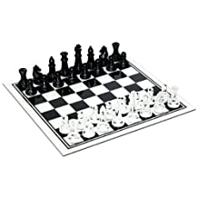 WE Games Black and Clear Glass Chess Set
