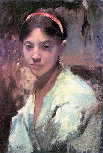 The Museum Outlet - Head of a Capri Girl by John Singer Sargent - Canvas Print Online Buy (30 X 40 Inch)