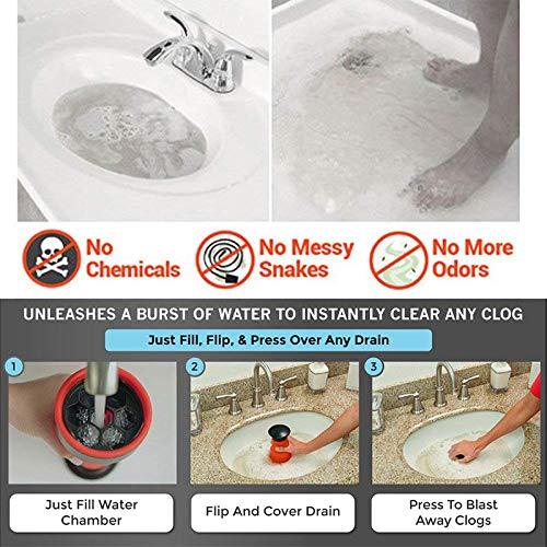 Syfinee Sink Air Blaster Plunger Drain Clog Blaster Dredging Tool Sewer Kitchen Toilet High Pressure Manual Air Power Drain Blaster Pump for Toilet Bathroom Kitchen Sink Plunger Pipe Clog Clean