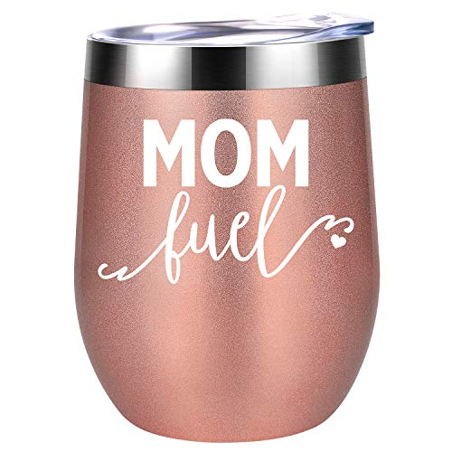 (Mom Fuel | Funny Mom Gifts for Mother's Day from Daughters, Sons or Husband | Best Mom Presents for Mom Birthday, Wife, Women, Her | Coolife 12 oz Stainless Steel Stemless Insulated Wine Tumbler Cup)