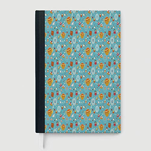 Portable Notebook,Tea Party,Notepad Student Award Gift Decorative Notebooks,Drawing Style Lovely Elements Floral Motifs and Cute Birds Muffins Latte Decorative,96 sheets/192 pages,B5/7.99x10.02 in