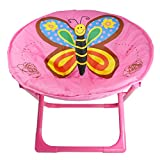 Comfortable Kids and Toddler Saucer Chair | Folding Moon Chair for Indoor and Outdoor (Butterfly)