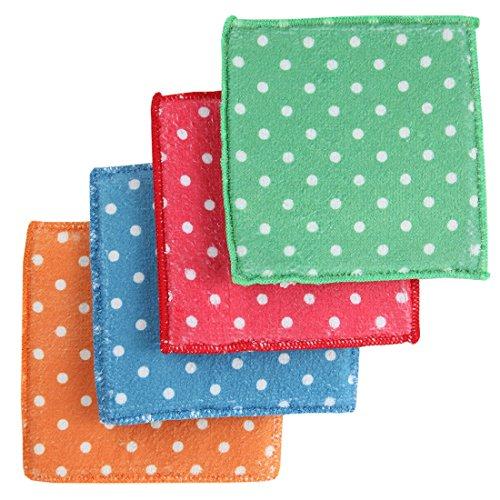 Home-X Polka-Dot Microfiber Sponges. Set of 4
