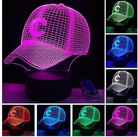 Equipo de béisbol Gorra Led Ilusión 3D Luz de la noche 7 colores ...