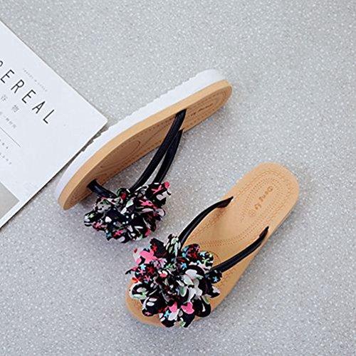 Été Confort Noir Mode Femmes Sandales Bohème Tongs JRenok Pantoufles Fleur Plage Dentelle Plat 6z7qT1w8c