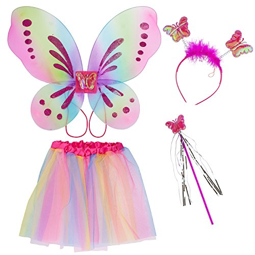 Lux Accessories Pastel Fairy Skirt Butterfly Wing Fashion Headband Costume Set]()