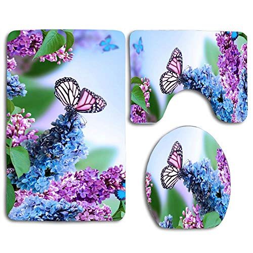 jiebokejiHFGD Lilacs in Bloom and Butterfly Print Bathroom Rug Contour Mat Tank Top Lid Covers for Modern Home