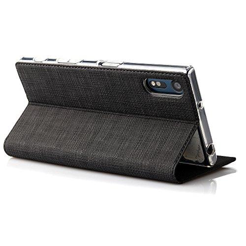 Foluu Xperia XZ ケース 手帳型 SO-01J / SOV34 / 601SO 布調 合革レザー スタンド機能 カードポケット付き エクスペリアXZ  (ブラック)