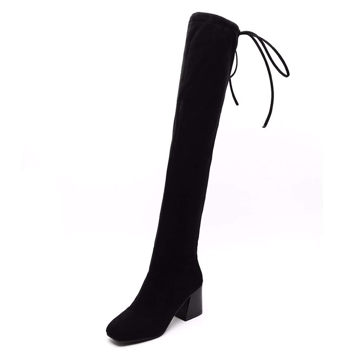 LBTSQ Chaussures Femme/Bottes À Élastique avec des Taux De 6 Cm Longueur Genou - Bottes Cravate Tête Au Carré Épaisses Bottes Talon Mince.