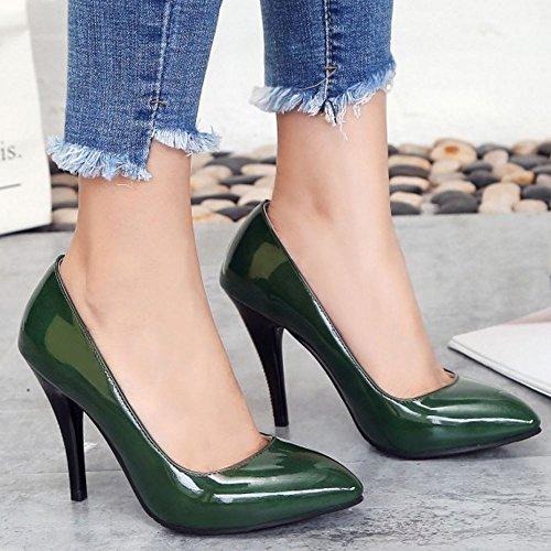 mujer de 3 alto verde TAOFFEN moda Bombas tacón AIw8nx4aa