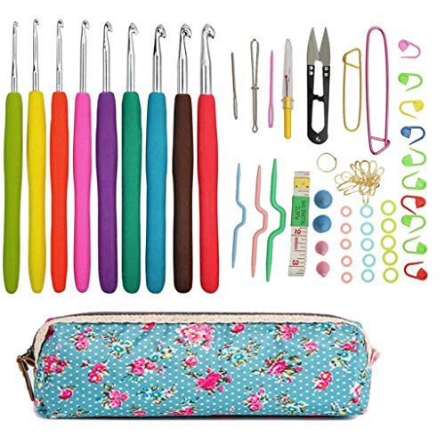 かぎ針 編み針 かぎ針編みの初心者用キット 携帯便利 バッグ+ 人間工学に基づいたハンドル付きかぎ針編みのフックが DIY 愛好家 向けに設定されています DIY 工具