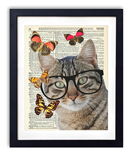Nerd Cat With Butterflies Upcycled Vintage Dictionary Art Print - Chic Nerd