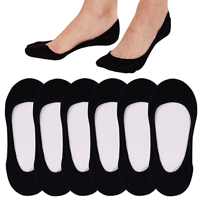 No Show Socks For Women Casual Low Cut Sock Liners With Non Slip Grips Women's Cotton Invisible Socks (US Women 6-8.5, Black 6 Pack) best no-show women's socks