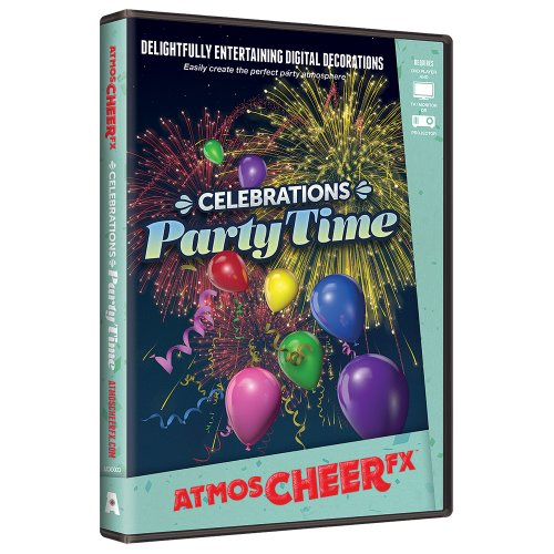 AtmosFX Celebrations Party Time Digital Decorations,Multi-colored,One