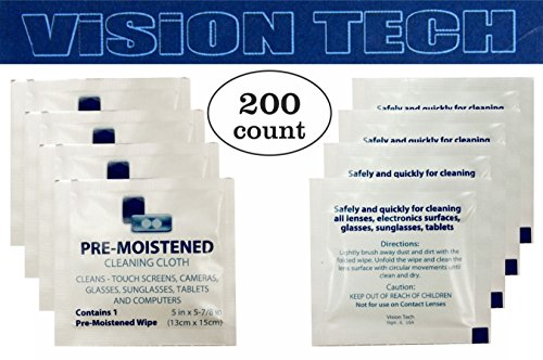 Pre Moistened Lens Wipes 200 - Way Clean Sunglasses Best
