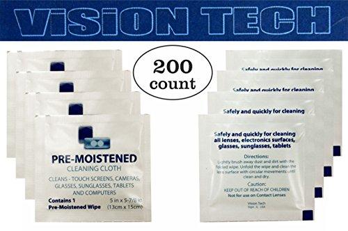 Pre Moistened Lens Wipes 200 - Eyeglass Best Clean To Plastic Lenses Way