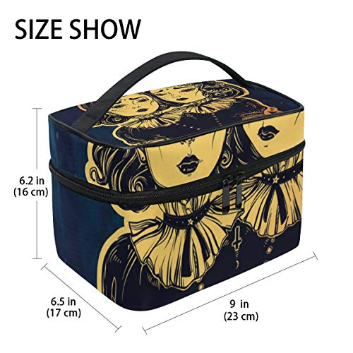 GIOVANIOR Gothic Witchcraft Siamese Twins Large Cosmetic Bag Travel Makeup Organizer Case Holder for Women -
