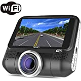 Dash Cam With WIFI,3 LCD Full HD 1080P 220° Wide Angle Hidden Dashboard Recorder Car Truck Driving Video Recorder with SONY EXMOR Video Sensor,G-Sensor,WDR,Loop Recording,Night Vision,Rotatable Lens