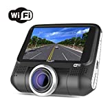 """Dash Cam with WiFi,3"""" LCD Full HD 1080P 220° Wide Angle Hidden Dashboard Recorder Car Truck Driving Video Recorder with Sony EXMOR Video Sensor,G-Sensor,WDR,Loop Recording,Night Vision,Rotatable Lens"""