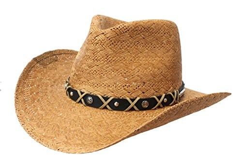 H-D Mens Leather Band Patterned Toyo Brown Straw Hat - XL