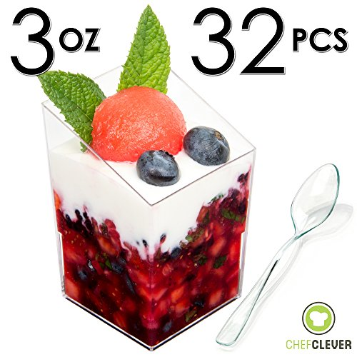 Mini Dessert Cups, Appetizer Bowls, FREE Recipe e-Book [Clear Plastic, 3 oz, Square Slanted, 32 Count] Small Catering Supplies, Disposable Parfait Tasting Shooters Tumblers Glasses