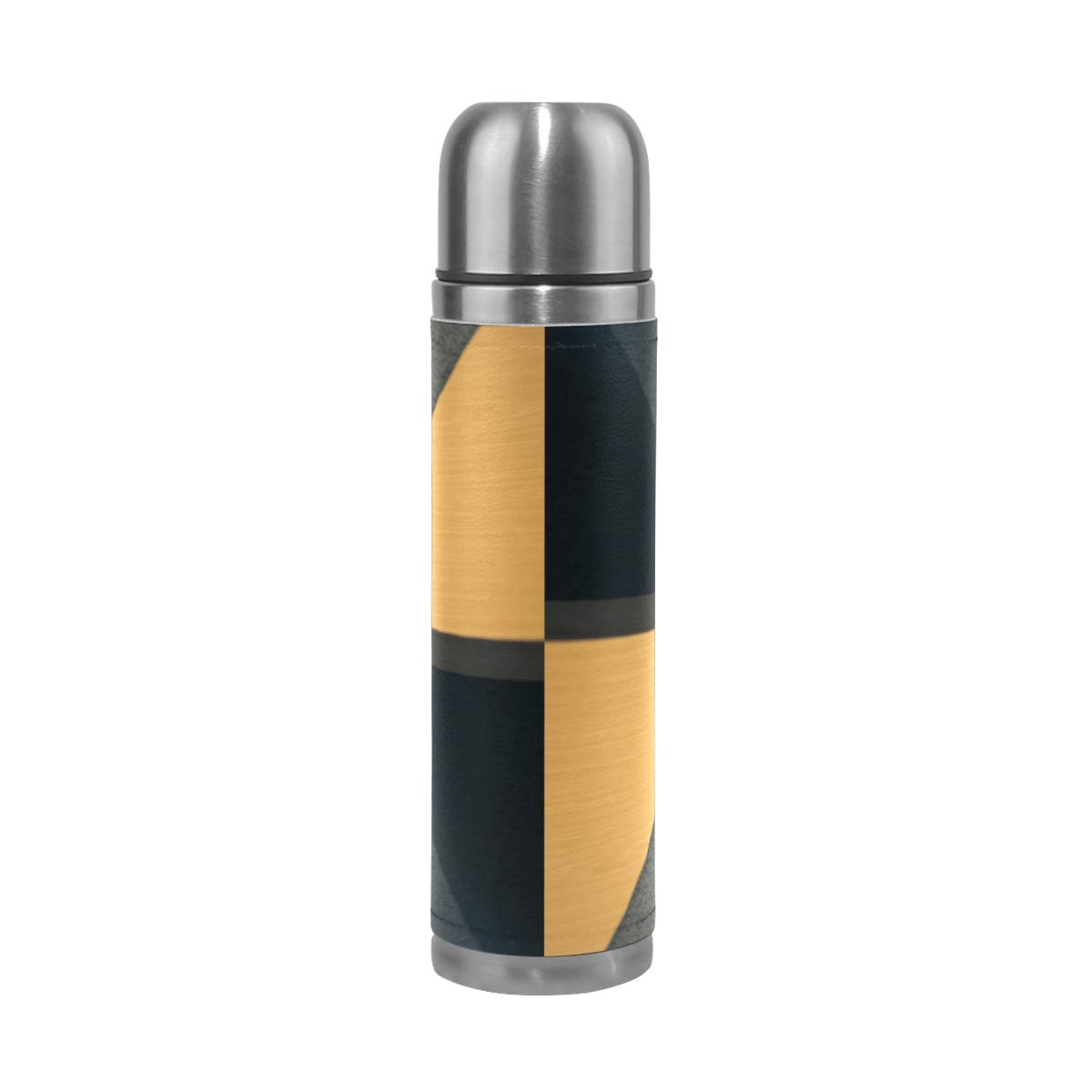 Wing Wood Floor 500ML Stainless Steel Double Walled vacuum insulated water bottle Travel Mug Leather Cover Thermos 17 oz